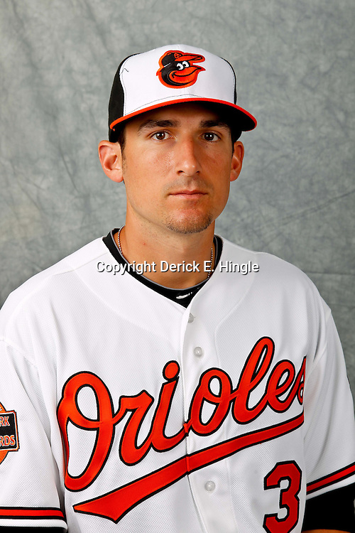 March 1, 2012; Sarasota, FL, USA; Baltimore Orioles second baseman Ryan Flaherty (3) poses for a portrait during photo day at the spring training headquarters.  Mandatory Credit: Derick E. Hingle-US PRESSWIRE