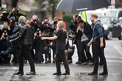 © Licensed to London News Pictures. 28/02/2020. London, UK. Prince Harry, Duke of Sussex and Jon Bon Jovi are seen recreating the Beatles Abbey Road album cover on the crossing outside Abbey Road studios in London after meeting members of the Invictus Games Choir, who are recording a special single in aid of the Invictus Games. Photo credit: Ben Cawthra/LNP