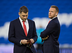 CARDIFF, WALES - Sunday, October 13, 2019: Wales' Sam Vokes (L) and Chris Gunter on the pitch before the UEFA Euro 2020 Qualifying Group E match between Wales and Croatia at the Cardiff City Stadium. (Pic by Paul Greenwood/Propaganda)