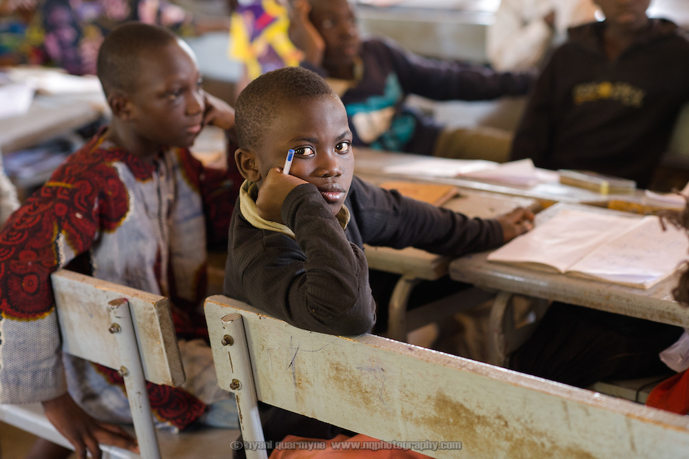 Lessi Ibrahim Traore (11) in class in the village of Toussiana in the Hauts-Bassins region of Burkina Faso, on 22 February 2016.