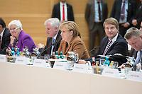30 OCT 2013, BERLIN/GERMANY:<br /> Gerda Hasselfeldt, CSU, Stellv. CDU/CSU Fraktionsvorsitzende, Horst Seehofer, CSU, Ministerpraesident Bayern, Angale Merkel, CDU Bundesvorsitzende und Bundeskanzlerin, Ronald Pofalla, CDU, Kanzleramtsminister, Hermann Groehe, CDU Generalsekretaer, (v.L.n.R.), Sitzung der grossen Verhandlungsrunde unter Sigmar Gabriel, SPD Parteivotsitzender und Angela Merkel, CDU Parteivorsitzende, zu Koalitionsverhandlungen von CDU/CSU und SPD, Willy-Brandt-Haus<br /> IMAGE: 20131030-01-007<br /> KEYWORDS: Grosse Runde, Große Verhandlungsrunde, Hermann Gröhe