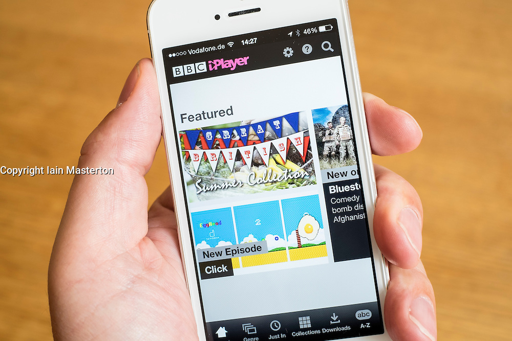 Using BBC iPlayer television catchup app to watch television programmes on iPhone smart phone
