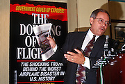 Investigative reporter Jim Sanders holds a press conference on the conspiracy behind the crash of TWA Flight 800 in Washington, DC.
