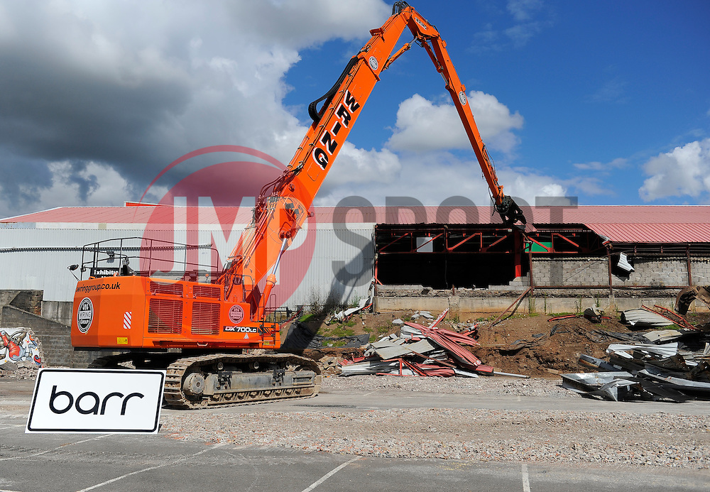 First Steps are made to start the demolition of the East End - Photo mandatory by-line: Joe Meredith/JMP - Mobile: 07966 386802 28/07/2014 - SPORT - FOOTBALL - Bristol - Ashton Gate - Wedlock Stand Demolition