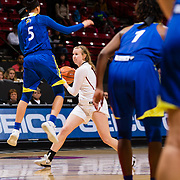 24 February 2018: The San Diego State women's basketball team closes out it's home schedule of the regular season Saturday afternoon against San Jose State. San Diego State Aztecs guard Allison Brown (13) looks to pas the ball while being guarded by San Jose State Spartans guard Analyss Benally (5) in the second half. The Aztecs beat the Spartans 85-78 at Viejas Arena.<br /> More game action at sdsuaztecphotos.com