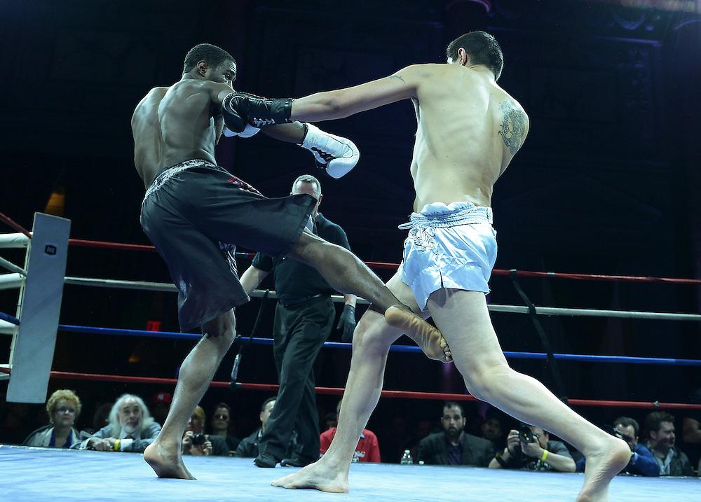 Friday, April 4, 2014, New York, NY: Gueorgui Smaguin(white trunks) Vs Malik Blake( black shorts) at The Capitale Ballroom in Combat at The Capitale 32.