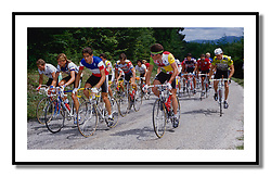 Tour de France 1987<br /> <br /> Jean-Francois Rault (RMO), Lubberding, Marc Madiot, Yvon Madiot, Kvetoslav Palov, Adri Van der Poel Jeff Bernard, Miguel Indurain who finished 97th, Gilbert Duclos Lasalle, Brian Holm  and Luc Roosen