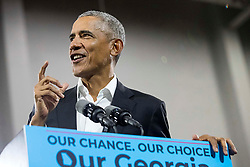 Former President Barack Obama speaks during a rally for gubernatorial candidate Stacey Abrams in Forbes Arena at Morehouse College in Macon, GA, USA, on Friday, Nov. 2, 2018. Photo by Alyssa Pointer/Atlanta Journal-Constitution/TNS/ABACAPRESS.COM