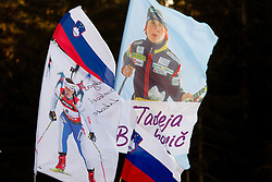 Fans of Tadeja Brankovic Likozar of Slovenia during the Women 15 km Individual of the e.on IBU Biathlon World Cup on Thursday, December 16, 2010 in Pokljuka, Slovenia. The fourth e.on IBU World Cup stage is taking place in Rudno Polje - Pokljuka, Slovenia until Sunday December 19, 2010.  (Photo By Vid Ponikvar / Sportida.com)