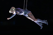 American singer, songwriter, actress and record producer Lady Gaga is suspended high in the air by wires while being lowered onto the field as she performs at halftime of the Atlanta Falcons Super Bowl LI football game against the New England Patriots on Sunday, Feb. 5, 2017 in Houston. The Patriots won the game 34-28 in overtime. (©Paul Anthony Spinelli)