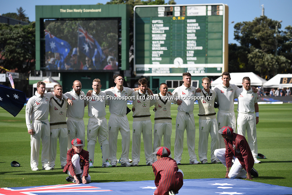 Australian crickete team lines up for the national anthem. New Zealand Black Caps v Australia. Day 1, 1st test match, Basin Reserve, Wellington, New Zealand. Friday 12 February 2016. Copyright photo: Andrew Cornaga / www.photosport.nz
