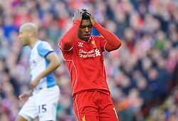 LIVERPOOL, ENGLAND - Sunday, March 8, 2015: Liverpool's Daniel Sturridge rues a missed chance against Blackburn Rovers during the FA Cup 6th Round Quarter-Final match at Anfield. (Pic by David Rawcliffe/Propaganda)