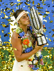WUHAN, Sept. 29, 2018  Aryna Sabalenka of Belarus poses during the trophy ceremony after winning the singles final match against Anett Kontaveit of Estonia at the 2018 WTA Wuhan Open tennis tournament in Wuhan, central China's Hubei Province, on Sept. 29, 2018. Aryna Sabalenka won 2-0 and claimed the title. (Credit Image: © Liu Xu/Xinhua via ZUMA Wire)