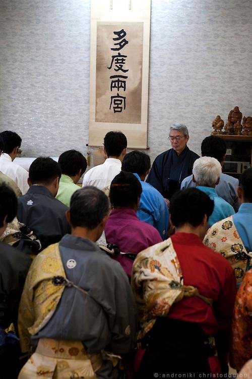 31st patriarch f Yabusame school, Kiyotada Ogasawara, talking to his archers before the ritual of Yabusame at Tado shrine