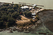 Aerial view of Bowen's Island waterfront restaurant in Charleston, SC.