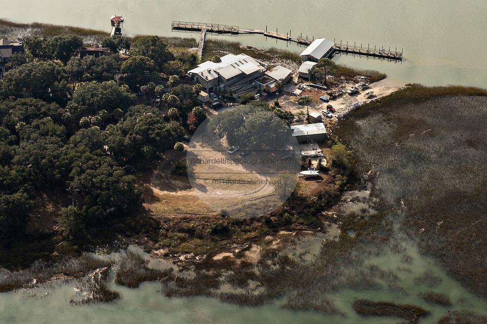 Aerial view of Bowen's Island waterfront restaurant in Charleston, SC.