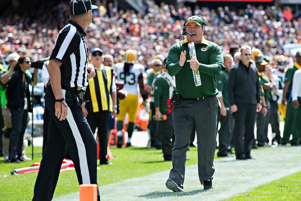 CHICAGO, IL - SEPTEMBER 13:  Head Coach Mike McCarthy of the Green Bay Packers calls a timeout during a game against the Chicago Bears at Soldier Field on September 13, 2015 in Chicago, Illinois.  The Packers defeated the Bears 31-23.  (Photo by Wesley Hitt/Getty Images) *** Local Caption *** Mike McCarthy