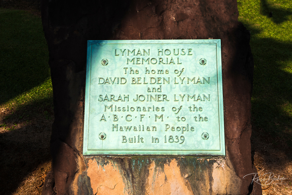 Historic plaque at the Lyman House and Museum, Hilo, The Big Island, Hawaii USA