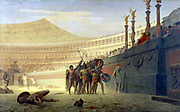 Jean Leon Gerome (1824-1904) 1859: 'Hail Caesar! We who are about to die salute you'. Gladiators in the arena saluting Caesar before their contest. Oil on canvas. Yale University Art Gallery