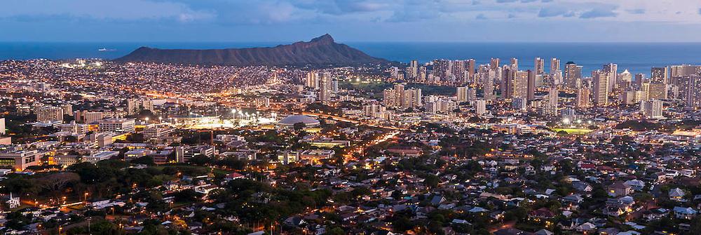 Night settles over Honolulu & Diamond Head, Oahu, Hawaii