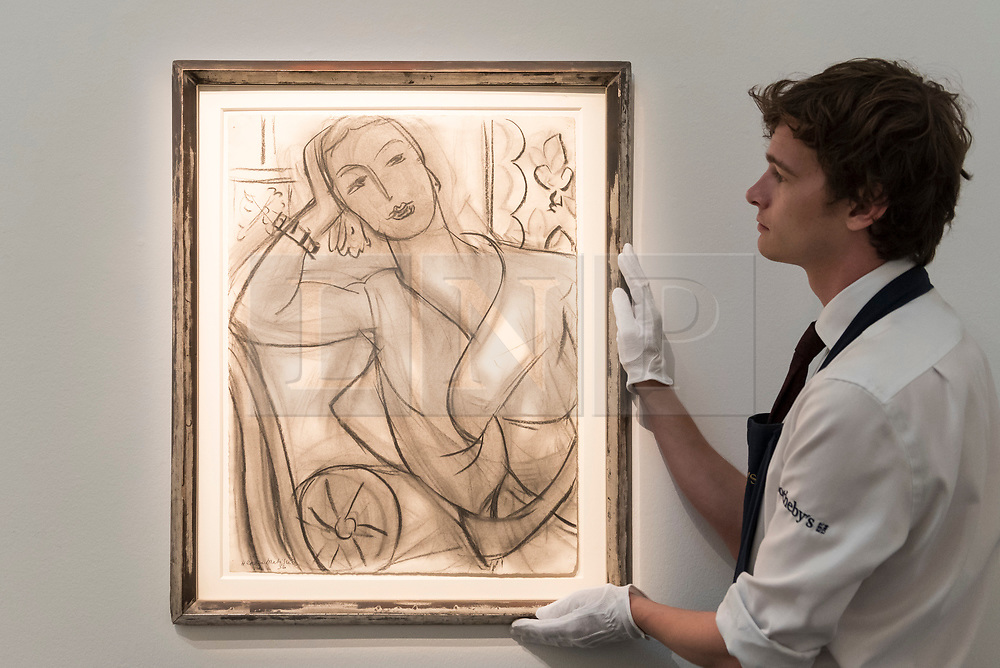 © Licensed to London News Pictures. 14/06/2018. LONDON, UK. ''Portrait Of Mrs Hutchinson'' by Henri Matisse, (Est. £2,000,000 - 3,000,000).  Preview of Impressionist & Modern and Contemporary art sales, which will take place at Sotheby's New Bond Street on 19 and 26 June 2018 respectively.  Photo credit: Stephen Chung/LNP