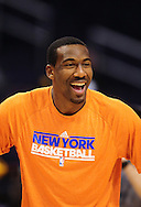Jan. 7 2011; Phoenix, AZ, USA; New York Knicks forward Amar'e Stoudemire (1) reacts on the court prior to the game against the Phoenix Suns at the US Airways Center. Mandatory Credit: Jennifer Stewart-US PRESSWIRE.