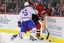 Feb 2; Newark, NJ, USA; New Jersey Devils right wing Dainius Zubrus (8) and Montreal Canadiens defenseman P.K. Subban (76) during the second period at the Prudential Center.