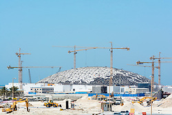 Construction Site of the Louvre Museum on Saadiyat Island in Abu Dhabi United Arab Emirates