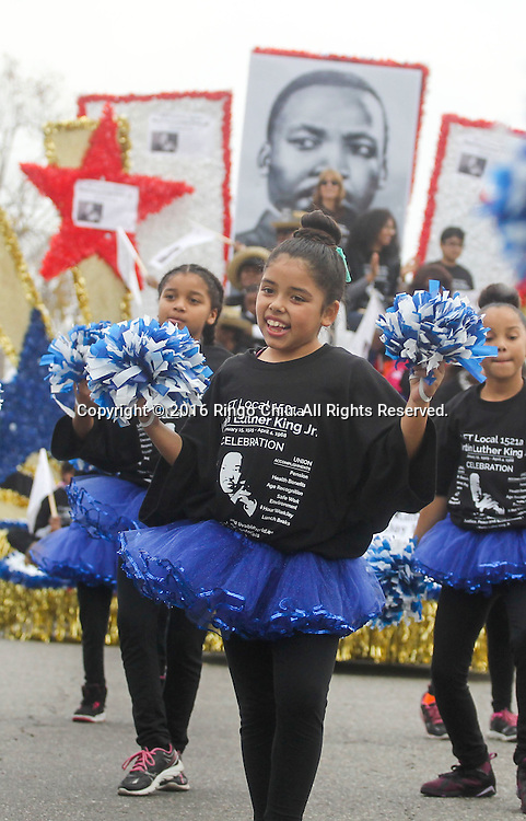 Young dancers perform as the Martin Luther King Jr. parade makes it's way down Martin Luther King Blvd. in Los Angeles on Monday Jan. 18, 2016. The 31st annual Kingdom Day Parade honoring Martin Luther King Jr. was themed &quot;Our Work Is Not Yet Done&quot;(Photo by Ringo Chiu/PHOTOFORMULA.com)<br /> <br /> Usage Notes: This content is intended for editorial use only. For other uses, additional clearances may be required.