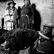 Death of a miner who had worked for the last 30 years in the mine shaft. He had no right to a pension. The Cerro Rico miners' encampment. Potosí, Bolivia.