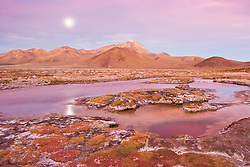 "Full moon over thermal pool at edge of salt lake ""Salar de Surire"", in the Andes in northeastern Chile near the Bolivian border, natural monument, home to 3 species of flamingos"