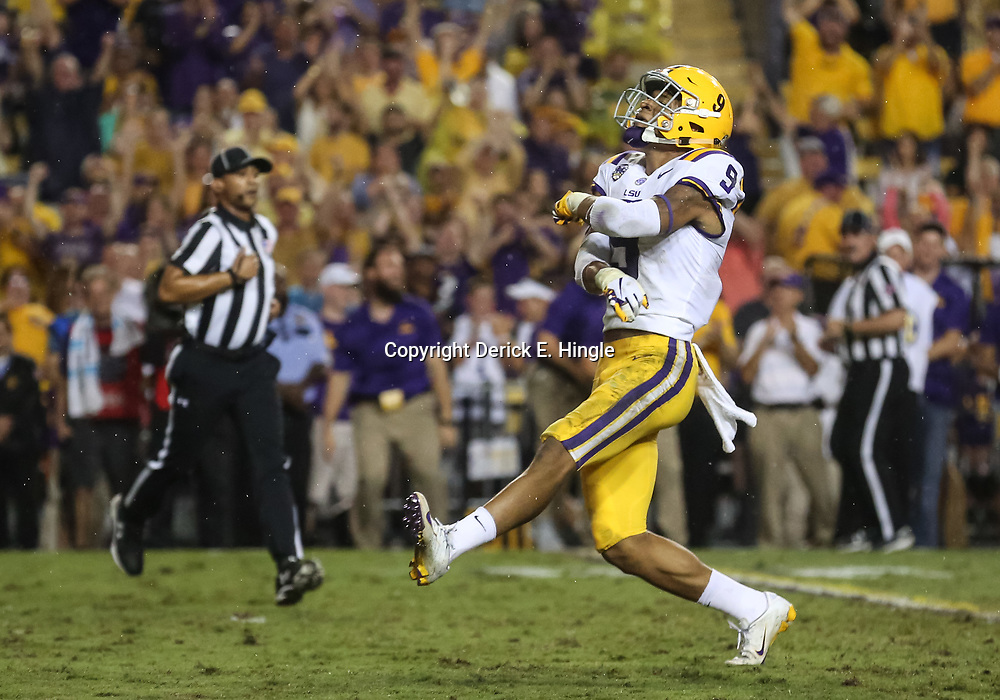 Sep 29, 2018; Baton Rouge, LA, USA; LSU Tigers safety Grant Delpit (9) celebrates after sacking Mississippi Rebels quarterback Jordan Ta'amu (not pictured) during the first quarter of a game at Tiger Stadium. Mandatory Credit: Derick E. Hingle-USA TODAY Sports