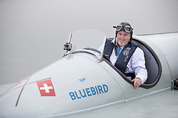 © Licensed to London News Pictures. 26/09/2017. Bewl Water, UK. Karl Foulkes Halbard sits in the fully restored Blue Bird K3 on Bewl Water ahead of a test run. Built in 1937 for Sir Malcolm Campbell, the K3 achieved three world water speed records in 1937-8 attaining a speed of 130.91mph. Blue Bird K3 has undergone an extensive restoration and is part of the Foulkes Halbard Collection at Filching Manor Motor Museum near Eastbourne. Photo credit: Peter Macdiarmid/LNP