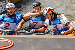 Funk Ricarda (GER), Pennie Fiona (GBR) and Mailaen Chourraut (ESP) competing in Finals during Day 3 of 2018 ECA Kayak - Canoe Slalom European Championships, on June 3rd, 2018 in Troja , Prague, Czech Republic. Photo by Grega Valancic / Sportida