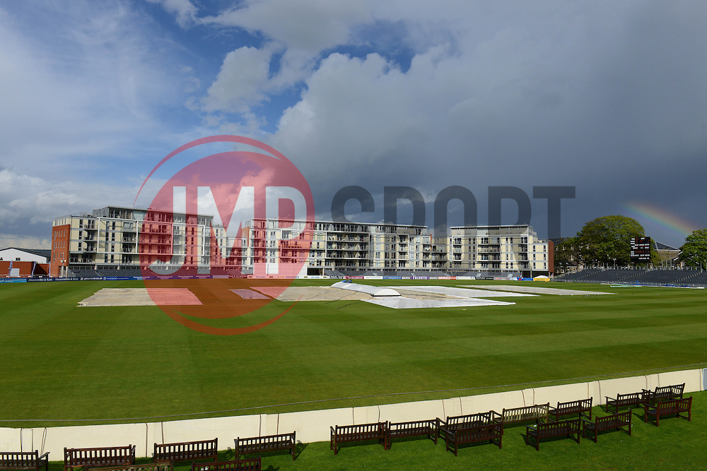 A rainbow is seen over the Bristol County Ground - Photo mandatory by-line: Dougie Allward/JMP - Mobile: 07966 386802 - 19/05/2015 - SPORT - Cricket - Bristol - County Ground - Gloucestershire v Kent - LV=County Cricket Division 2