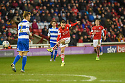 Conor Chaplin of Barnsley FC shoots at goal during the EFL Sky Bet Championship match between Barnsley and Queens Park Rangers at Oakwell, Barnsley, England on 14 December 2019.