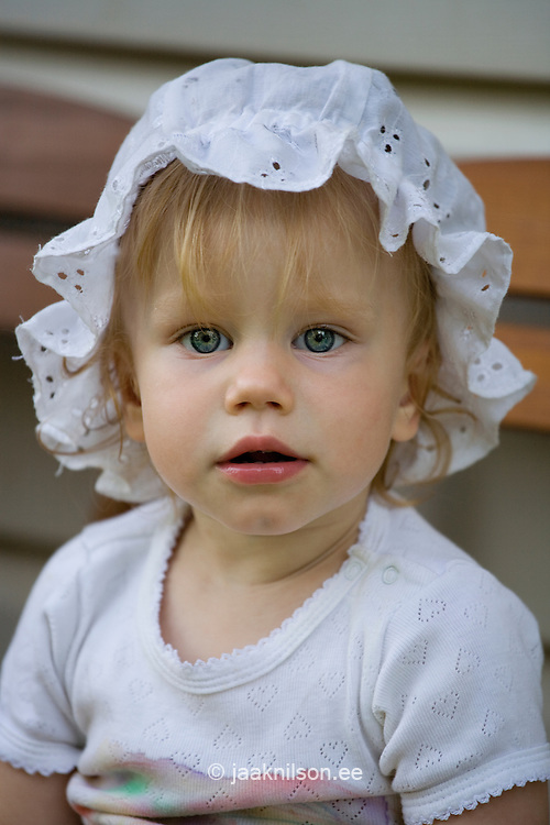 Portrait of One Year Old Caucasian Baby Girl
