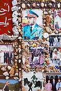 Photos of the king put up by locals inside the main shopping souks of, Marrakesh, Morocco, 2016–04-19. <br />