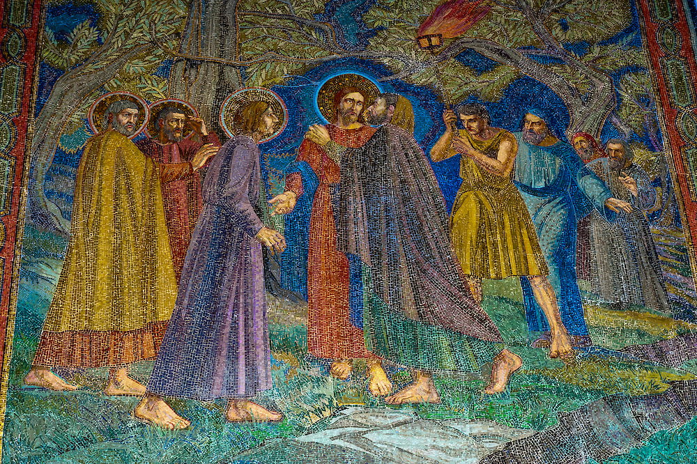 A mosaic of Jesus being kissed by Judas, Church of All Nations (Basilica of the Agony), Mount of Olives, Jerusalem, Israel.