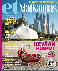 et Matkaopas magazine, Finland; cover image, beach club in Dubai