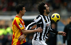 ITALY, Lecce : Luca Toni J Vives L.during the Serie A match between Lecce and Juventus at Stadio Via del Mare in Lecce on February 20, 2011. .AFP PHOTO / GIOVANNI MARINO