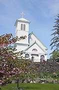USA, Alaska,A summer view of the Saint Rose of Lima Catholic Church in Wrangell.