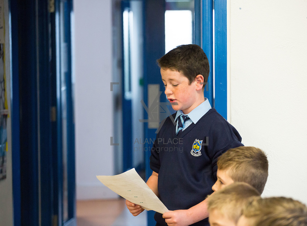 23/10/2015       <br /> Members of the Defence Forces were in Abbeyfeale today to present a handmade Tricolour and a copy of the Proclamation of the Irish Republic to students of the town's two primary schools.<br /> <br /> St Marys Boys National School and Scoil Mh&aacute;thair D&eacute; are among 3,000 schools nationally and 152 Limerick primary schools to receive the presentation as part of initiatives to mark the centenary of the 1916 Rising.&nbsp;<br /> <br /> Councillor Liam Galvin, Mayor of the City and County of Limerick joined pupils and teachers for today's presentation ceremony, which saw representatives of the Defences Forces raise the flag and read the Proclamation. <br /> <br /> Attending the ceremony at St. Marys Boys National School was Liam Collins. Picture: Alan Place.