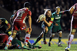 Sam Harrison of Leicester Tigers in possession - Photo mandatory by-line: Patrick Khachfe/JMP - Mobile: 07966 386802 13/02/2015 - SPORT - RUGBY UNION - Leicester - Welford Road - Leicester Tigers v Gloucester Rugby - Aviva Premiership