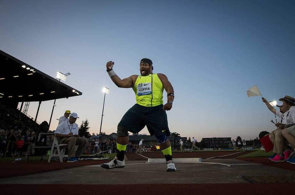 The IAAF Diamond League, Prefontaine Classic in Eugene, Oregon:  Reese Hoffa during the men's shotput.