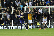 Hull goalkeeper Allan McGregor protests as Moses Odubajo is shown a red card during the Sky Bet Championship match between Derby County and Hull City at the iPro Stadium, Derby, England on 5 April 2016. Photo by Aaron  Lupton.