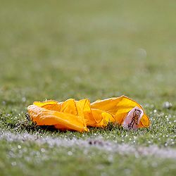 Sep 21, 2013; Baton Rouge, LA, USA; A detail of a penalty flag on the field during the second half of a game between the LSU Tigers and the Auburn Tigers at Tiger Stadium. LSU defeated Auburn 35-21. Mandatory Credit: Derick E. Hingle-USA TODAY Sports