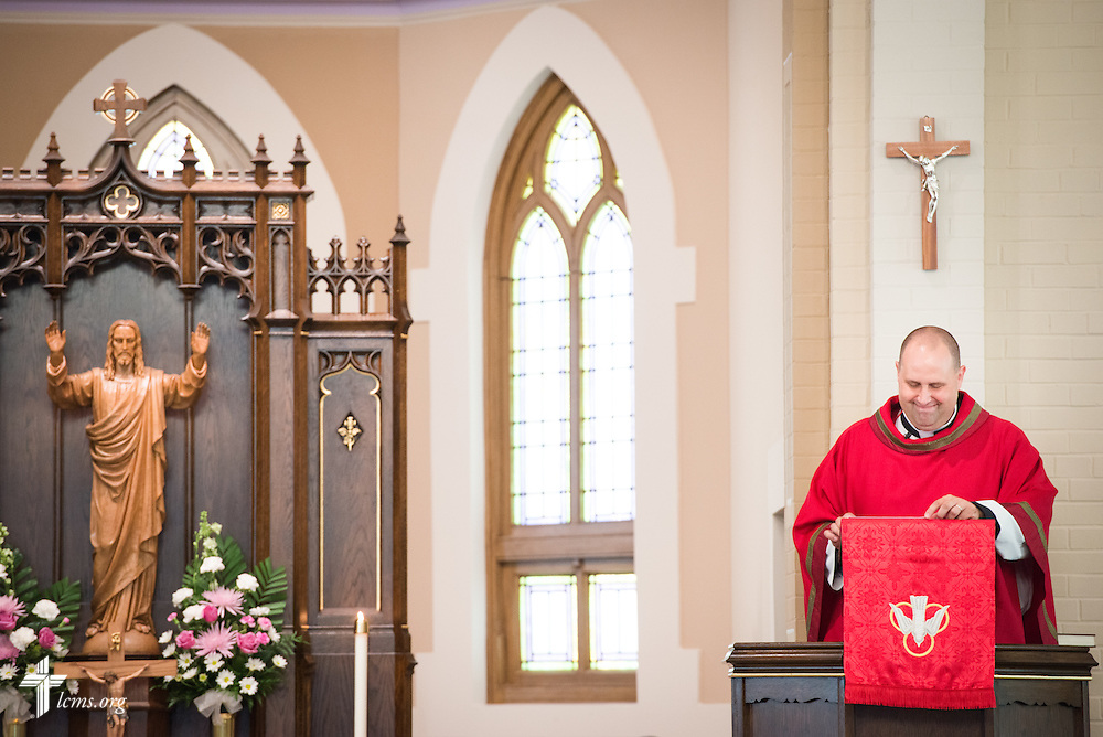 The Rev. Benjamin Ball preaches during a Divine Service of Rededication at St. Paul Lutheran Church in Hamel, Ill., on Sunday, Sept. 7, 2014.  LCMS Communications/Erik M. Lunsford
