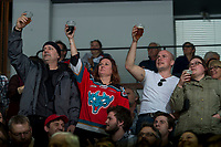KELOWNA, CANADA - MARCH 18: The family of the #1 Rockets fan salutes his jersey on the jumbotron after his passing in 2017 at the Kelowna Rockets game against Vancouver Giants on March 1, 2018 at Prospera Place in Kelowna, British Columbia, Canada.  (Photo by Marissa Baecker/Shoot the Breeze)  *** Local Caption ***