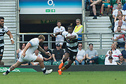 Twickenham, England, 27th May 2018. Quilter Cup, Rugby, Baa Baa's Niyi ADEOLKUN, swerves, round Joe MARLER attempted Challenge, during the  England vs Barbarians, Rugby match at the  RFU. Stadium, Twickenham. UK.  <br /> <br /> © Peter Spurrier/Alamy Live News